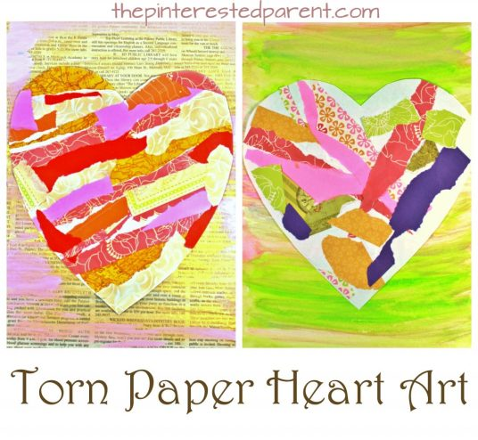 Torn scrap book paper heart craft for kids. Easy & pretty Valentine's mixed media art project for preschoolers and kids. Painted newspaper arts & crafts project