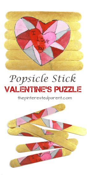 Make a sweet message of love for mom, dad or grandma and grandpa. Popsicle stick Valentine's heart puzzle. Arts & crafts for kids and preschoolers. Cute gift idea.