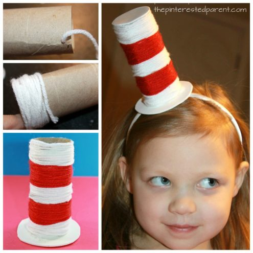 Toilet paper tube Dr. Seuss hat. Recycle cardboard rolls wrap with yarn for an easy Cat in the Hat inspired arts and craft project for the kids. A great fine motor activity as well.