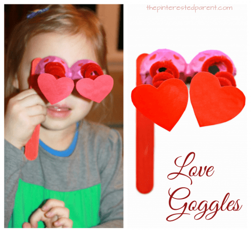 Egg carton & pipe cleaner love goggles - Valentine's Day arts & crafts for kids. Recyclable dangling heart glasses