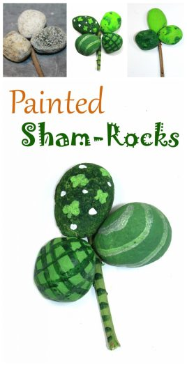 Painted rock shamrocks or four leaf clovers for St. Patrick's Day. Nature arts and kids for kids.