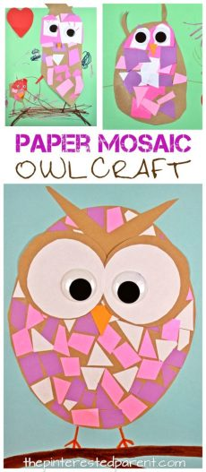 Construction paper mosaic owl craft - easy arts and craft for kids and preschoolers. Great for cutting and scissor skills. Fine motor activities