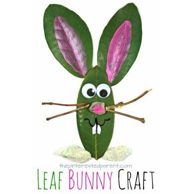 Leaf Easter Bunny Craft. Easy spring nature arts & crafts for kids