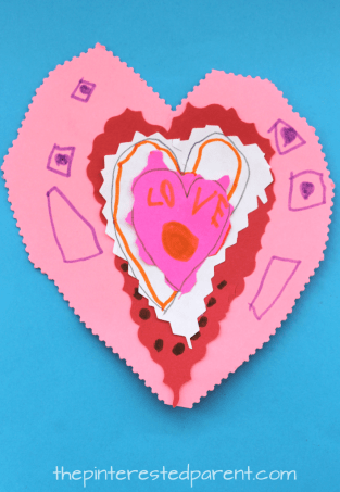 Layered Scribble Hearts. Arts and Crafts for kids. This is a great cutting activity and is perfect for Valentine's Day