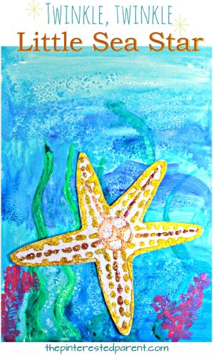 Glitter Sea Star on watercolor paints. Use salt for an additional effect. Under the sea arts and crafts projects for kids and preschoolers. Twinkle, twinkle, little sea star underwater painting