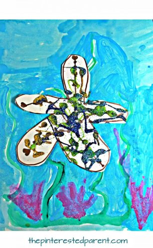 Glitter Sea Star on watercolor paints. Under the sea arts and crafts projects for kids and preschoolers. Twinkle, twinkle, little sea star underwater painting