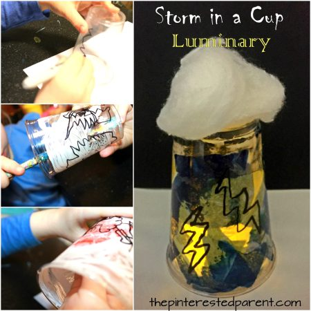 Plastic cup storm luminary. Weather, lightning and rain arts and crafts for kids. Spring projects for preschoolers and kids