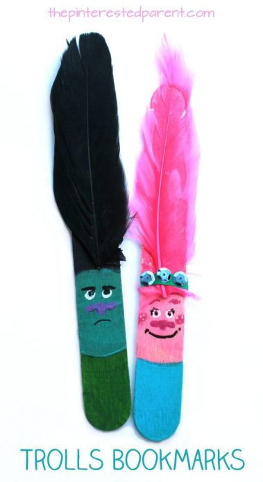 Poppy and Branch Popsicle stick bookmarks inspired by characters from the movie Trolls. Kid's arts and crafts
