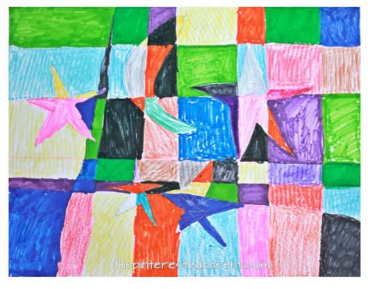 Picasso inspired Cubism art for kids. Spring arts & crafts ideas. Moon and stars abstract art