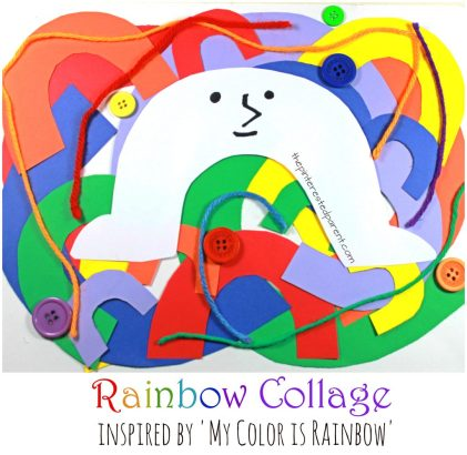 Rainbow Collage craft inspired by the book 'My Color is Rainbow'. Spring arts and crafts for kids and preschoolers. Construction paper, yarn, buttons.