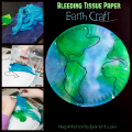 Painting with bleeding tissue paper. Paper plate Earth Day arts and craft for kids.