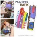Painting on bark process art. Painting on nature and texture. Kid's arts