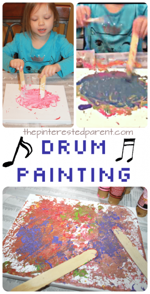 Canvas Drum Painting. This is a fun and messy piece of process art that the kids will love. Great for preschoolers and fun for adults too.