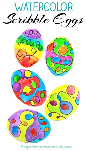Watercolor scribble Easter eggs. A fun process art project for the kids. Arts and craft projects for the spring.
