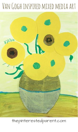 Mixed media art inspired by Van Gogh's Sunflowers. Famous artist inspired art projects. Painting, paper and newspaper