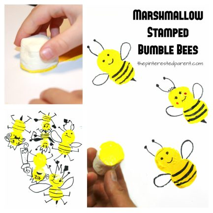 marshmallow paint stamped bumble bees - easy spring and summer arts and crafts for kids