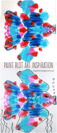 Paint Blot art inspiration - A fun and creative way to prompt kids to create. Arts and crafts for kids