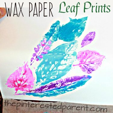 Leaf Nature prints on wax paper - printmaking ideas for kids. spring & summer arts & crafts projects