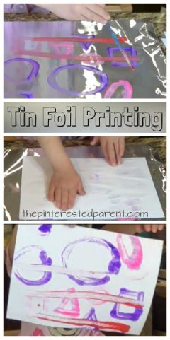 Tin Foil Printing - easy process art and print project for kids, toddlers and preschoolers