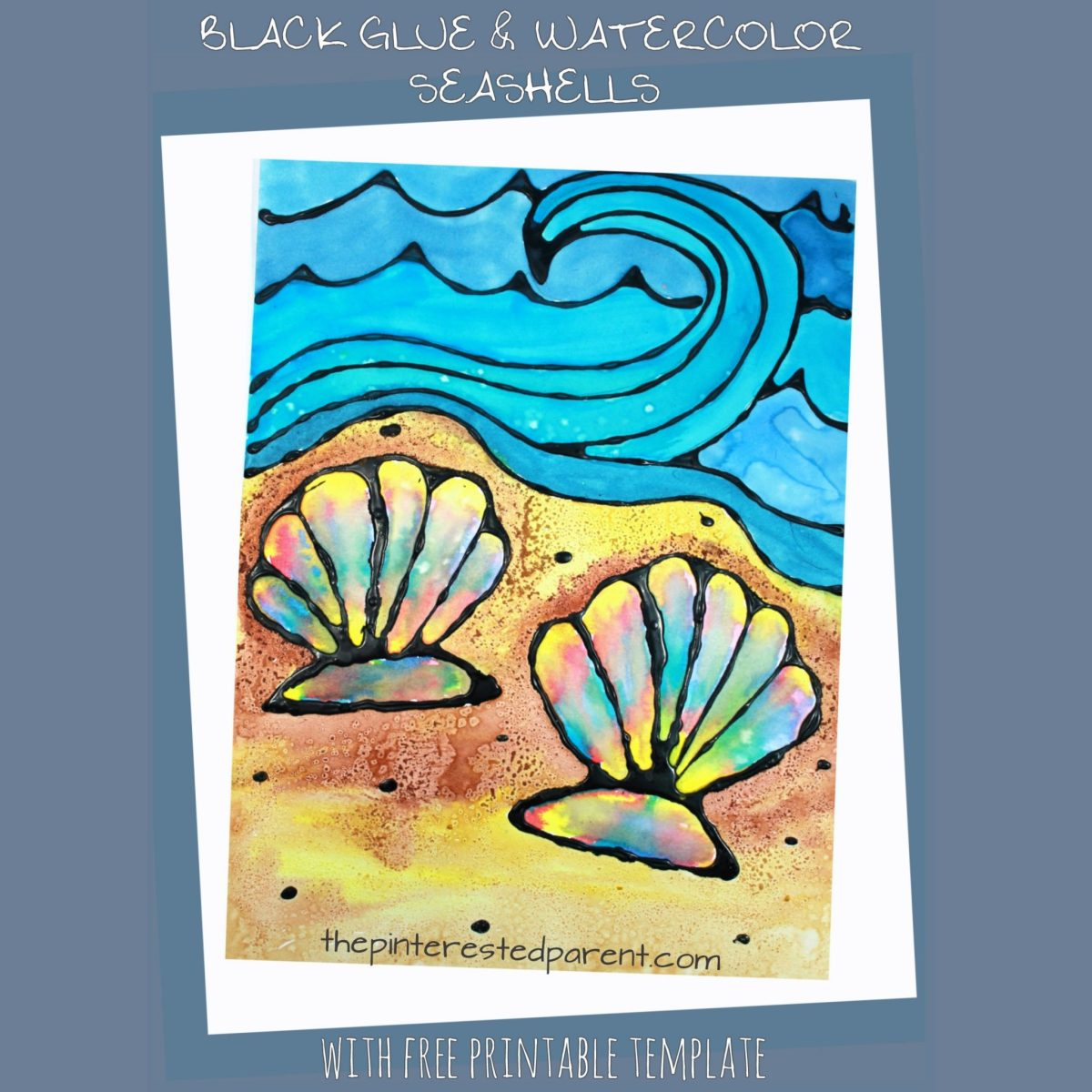 Black Glue Watercolor Seashells