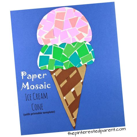 Paper mosaic ice cream cone craft with free printable template. Construction paper crafts for kids. Summer arts and crafts projects.