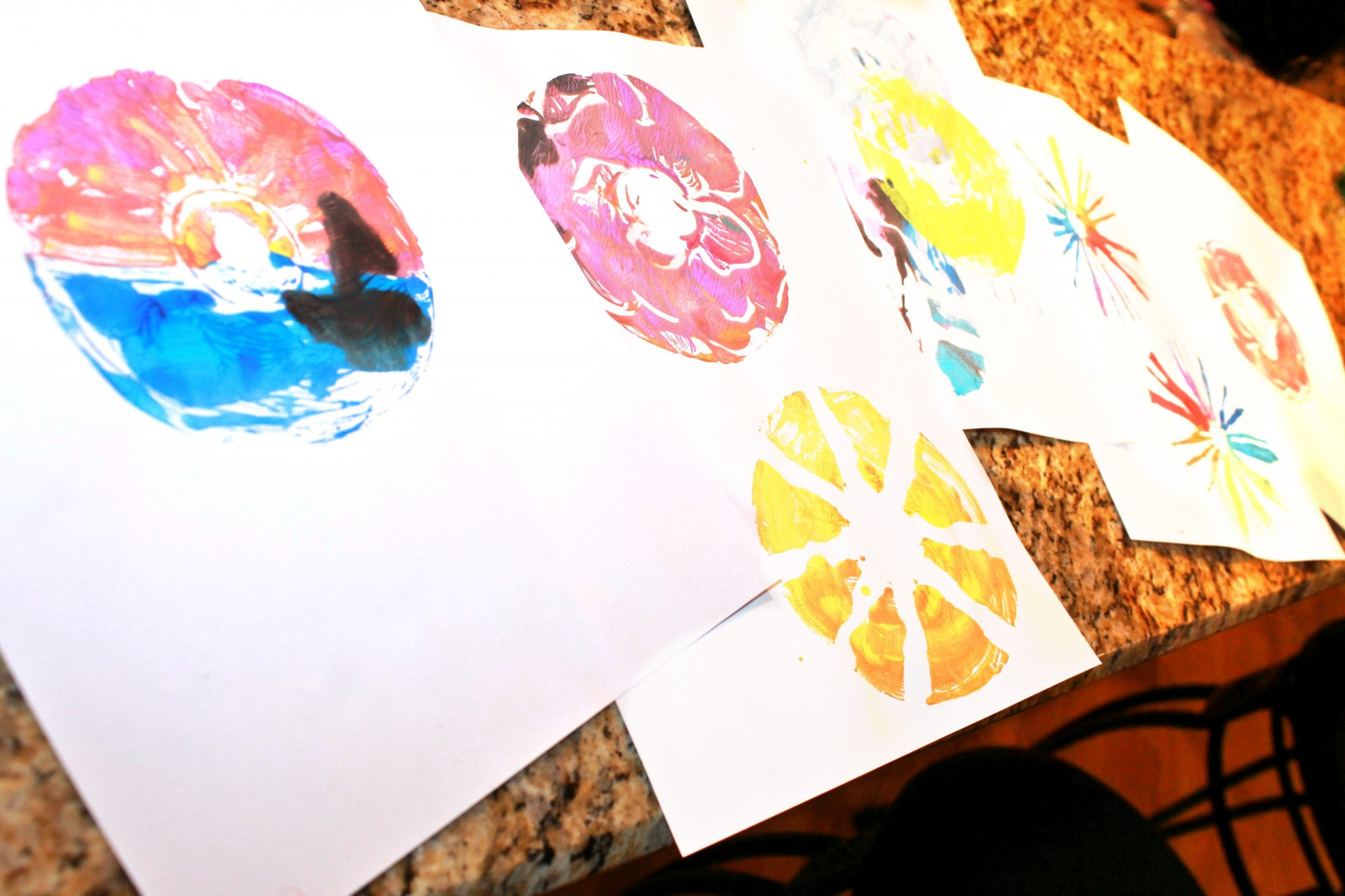 Cd Printmaking Techniques Using Paint , Yarn, Q Tips And Paint