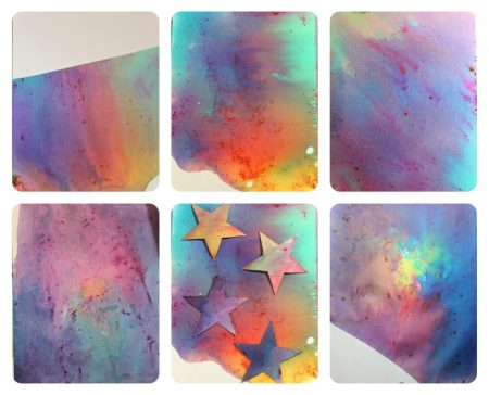 Baking soda and vinegar eruption prints - science and art combine for this pretty process art. Messy painting, arts and crafts for kids