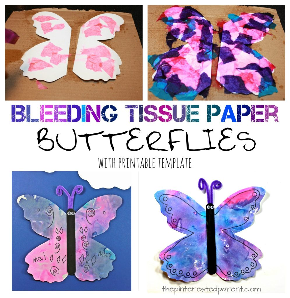 Bleeding tissue paper painted butterflies with a free printable template. Kid's spring and summer arts and crafts