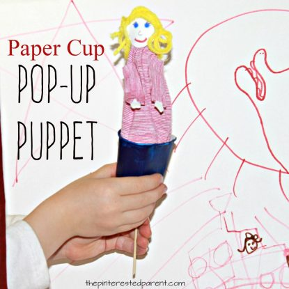 Paper cup pop-up puppet craft. Arts and craft for kids. Pretend and imagination play - Dixie cup craft