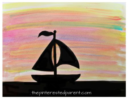Watercolor silhouette landscape paintings for toddlers, preschoolers and kids with free printable templates - cactus, mountains, sailboat scenes. Kid's arts and crafts