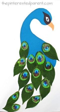 leaf peacock nature craft with printable template - kids arts and crafts projects made with painted leaves