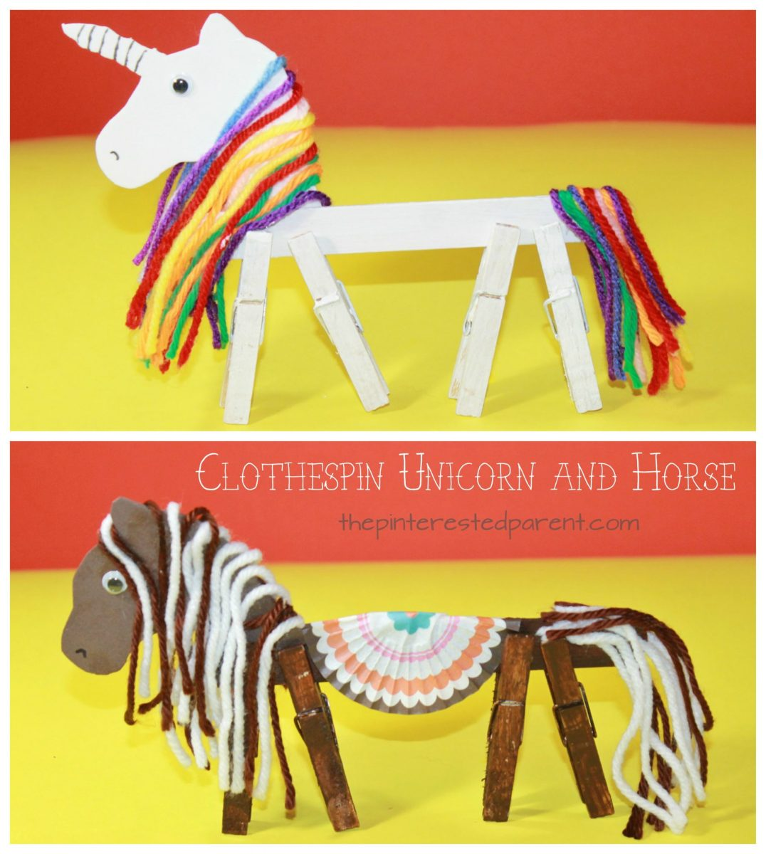 Clothespin Horse Unicorn