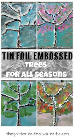 Tin foil embossed trees for all seasons. Make winter, spring, summer and fall trees using nature, aluminum foil and paint. Arts and crafts for kids