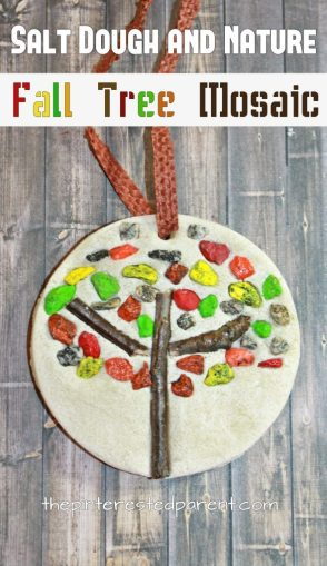 Salt dough and nature fall tree mosaics - autumn arts and crafts for kids. Use pebbles, small rocks and sticks to make these pretty ornaments