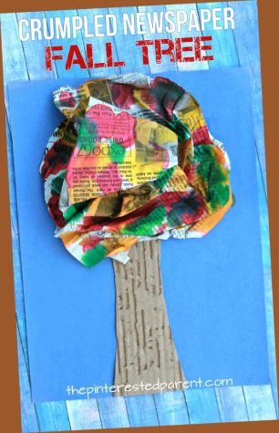 Crumpled newspaper fall tree craft for kids. Autumn arts and crafts. Mixed media, recyclables and painting