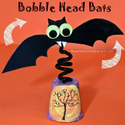 Bobble Head Bat with printable bat template- watch it wobble and fly. Halloween arts and crafts for kids