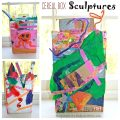 Cereal box sculptures - process art recyclables sculptures for kids. Arts and crafts for kids