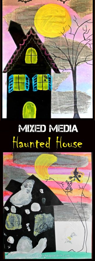 Mixed Media Haunted House for Halloween - arts and crafts for kids