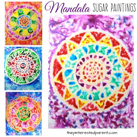 Sugar painting is a gorgeous paint technique and fun process. - Glossy sugar painted mandalas - Kids arts and crafts