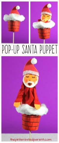 Pop-up Santa Puppet . Christmas arts and crafts for kids. Santa coming out of the chimney DIxie cup craft