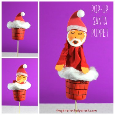 Pop-up Santa Puppets. Christmas arts and crafts for kids. Santa coming out of the chimney DIxie cup craft