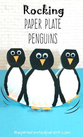 Rocking Paper Plate Penguins with printable template look like they are waddling. Winter arts and crafts for kids. Arctic animals