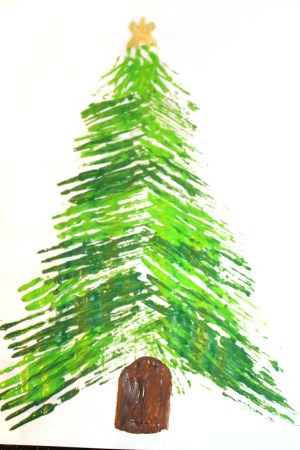 we painted on a simple trunk and a star let the paint dry before adding ornaments to the top you can paint on ornaments or use buttons or small pom poms - How To Paint A Christmas Tree