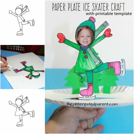 Interactive paper plate ice skating craft with boy and girl printable templates - winter and Christmas arts and crafts for kids
