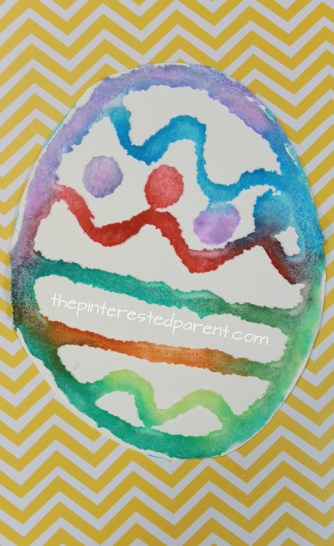 Salt Painted Easter Eggs with printable template. Spring and Easter arts and crafts for kids