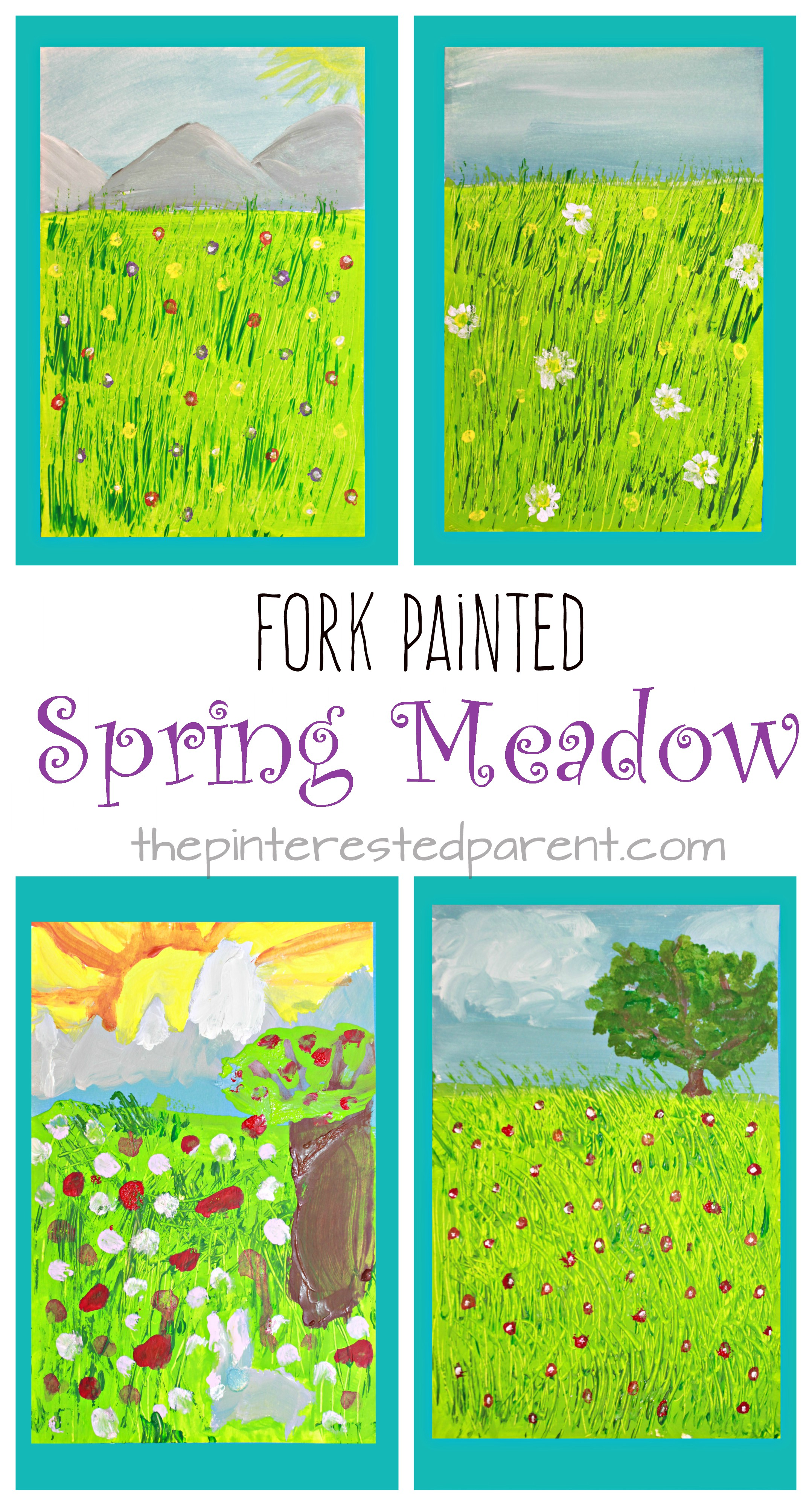 Fork Painted Spring Meadow – The Pinterested Parent
