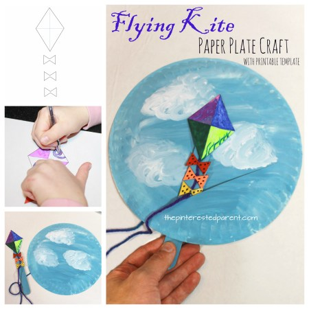 Interactive Flying Kite Paper Plate Craft with free printable template. Spring arts and crafts for kids