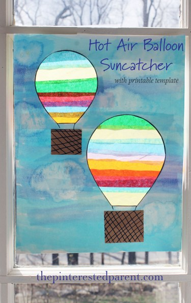 Hot Air Balloon Suncatcher craft. Mixed media project for kids with watercolors and tissue paper.