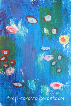 Monet Inspired Sponge Painting. Bridge Water Lilies inspired impressionism art for kids. Artist inspired arts and crafts ideas