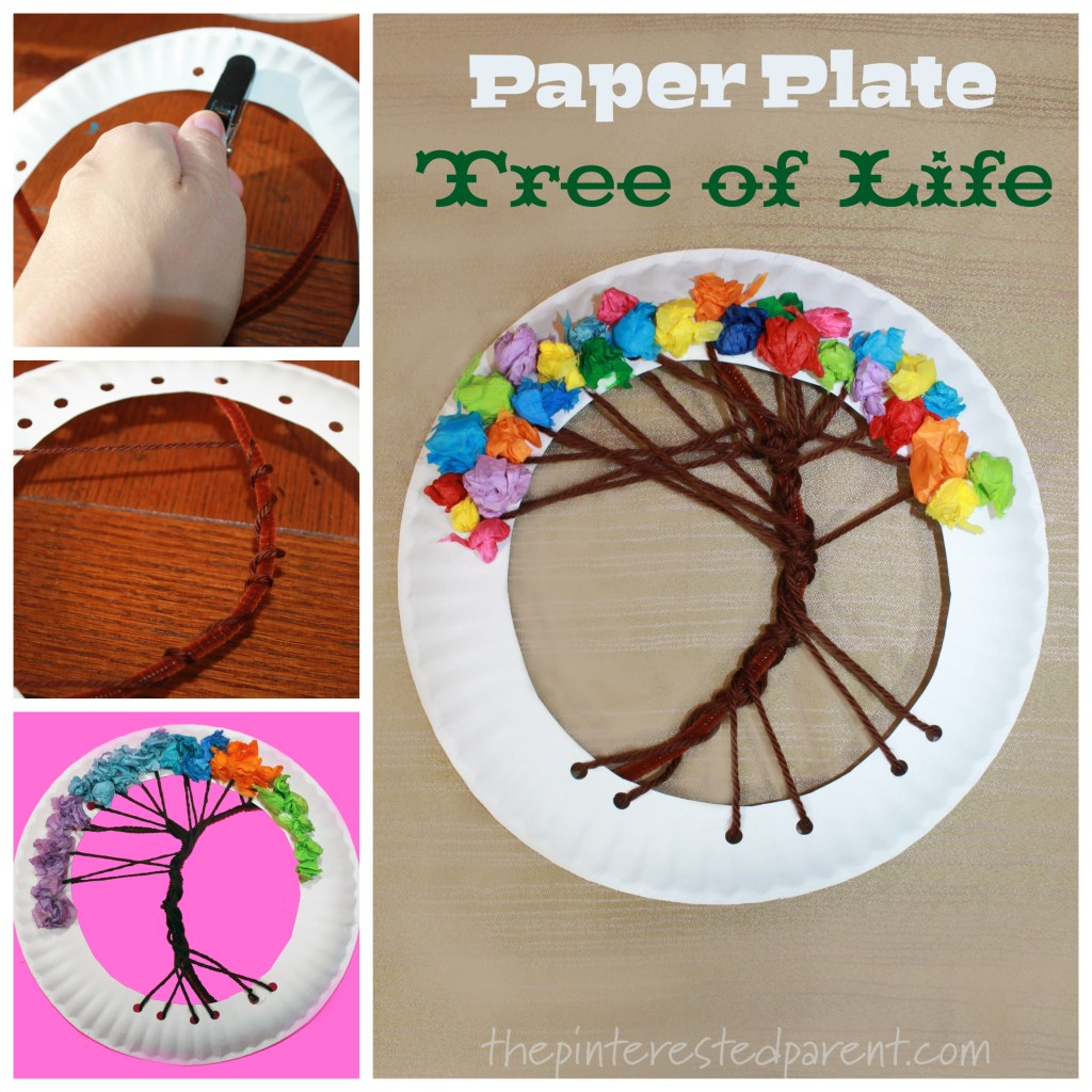 Paper Plate Tree of Life Lacing Craft. Arts and crafts for kids. Yarn and tissue paper